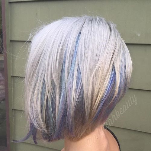 platina bob with pastel highlights