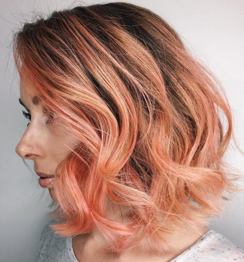Pastel Copper Red Hair With Root Fade