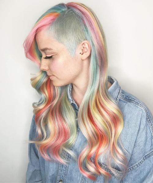 dugo Pastel Rainbow Hair With Side Undercut