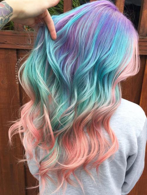 purpurna boja Teal And Pink Balayage Hair