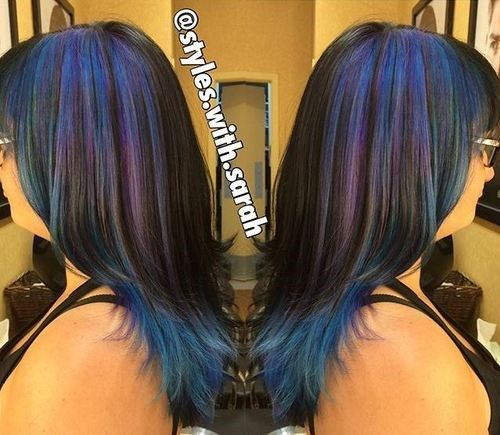 crno hair with pastel blue and purple highlights