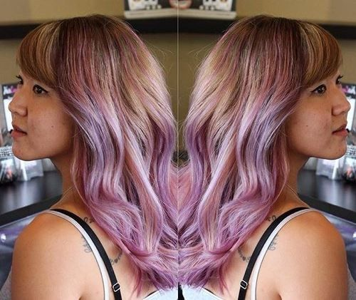 svjetlo brown hair with lavender ombre