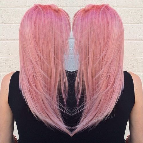 pastel pink layered hairstyle
