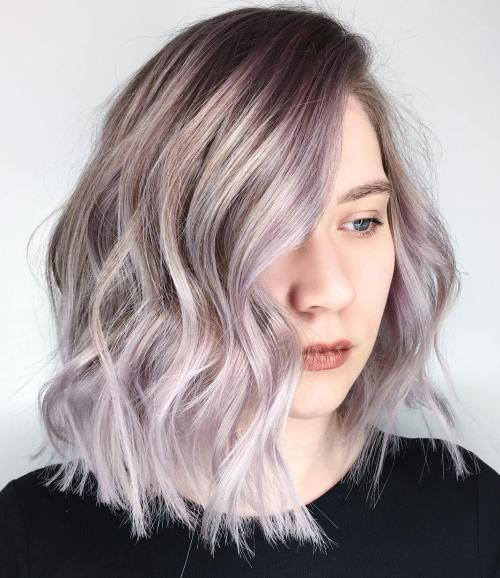 dugo Choppy Bob With Silver Balayage