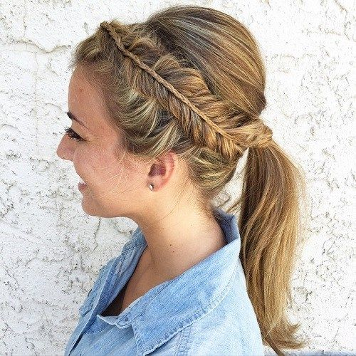 Bouffant Ponytail With A Side Braid
