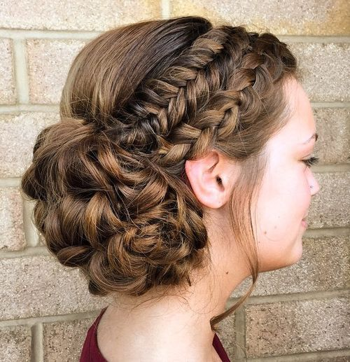 two braids curly updo