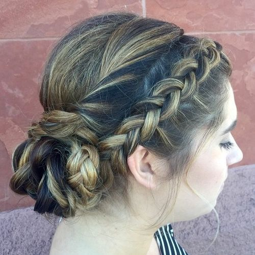 side braid and low braided bun updo