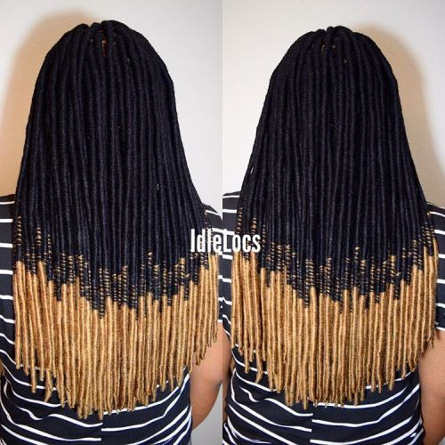 Juoda To Blonde Ombre Faux Locs