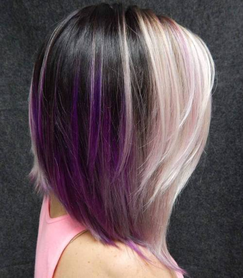 Juoda And Blonde Bob With Purple Highlights