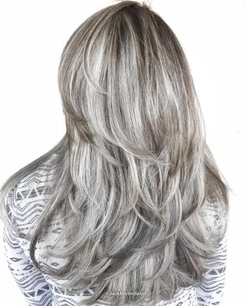 Ilgai Layered Silver Blonde Hairstyle
