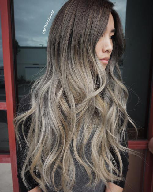 Ruda To Ash Blonde Ombre Hair