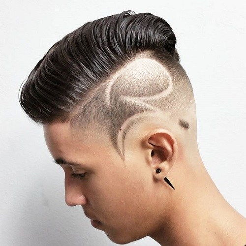ilgai top short sides haircut with shaved design
