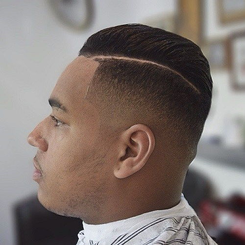 juoda side parted fade haircut