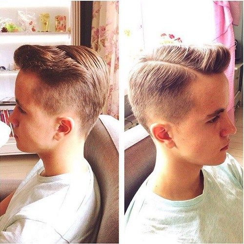 pusė parted quiff hairstyle
