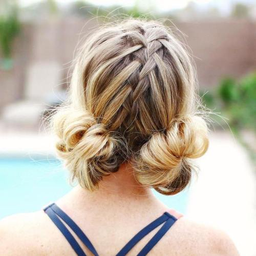 שתיים Low Buns With A Centre Braid