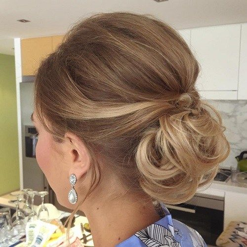 בופ Low Curly Bun Updo For Shorter Hair