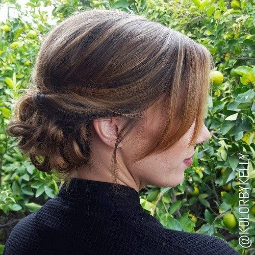 נָמוּך Curly Bun With Side Bangs