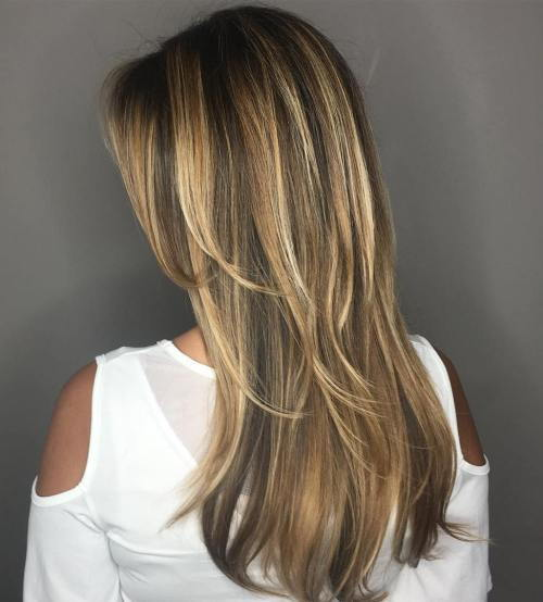 smeđ Hair With Caramel And Blonde Highlights