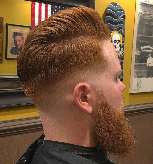 Crvena taper fade hairstyle with beard