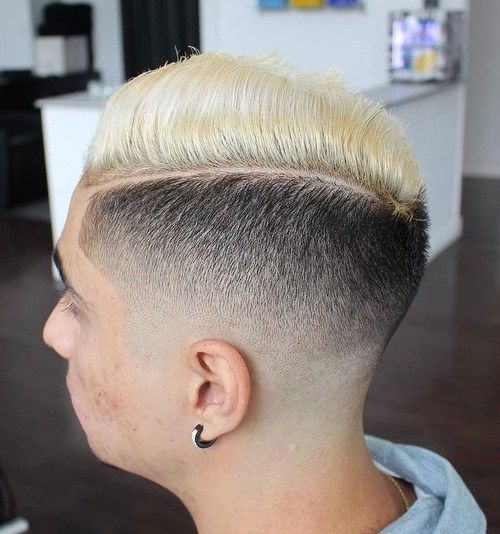 muškarci's black and blonde side part fade