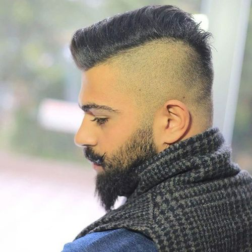 obrijane sides and back men's hairstyle with beard