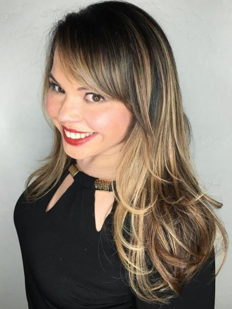 Mid-Length Balayage Hair With Side Bangs