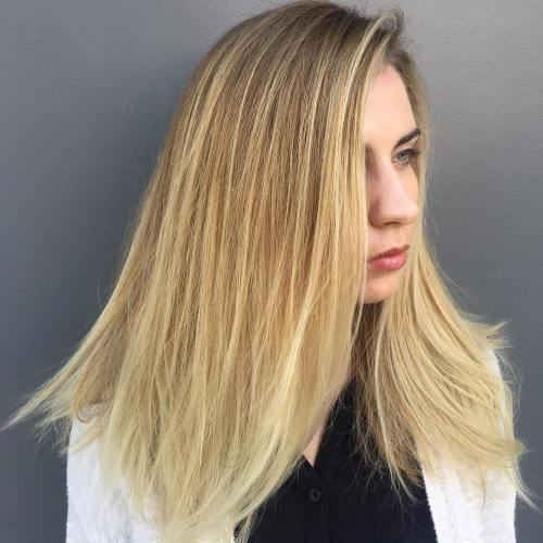 Vidutinis Blonde Ombre Hairstyle