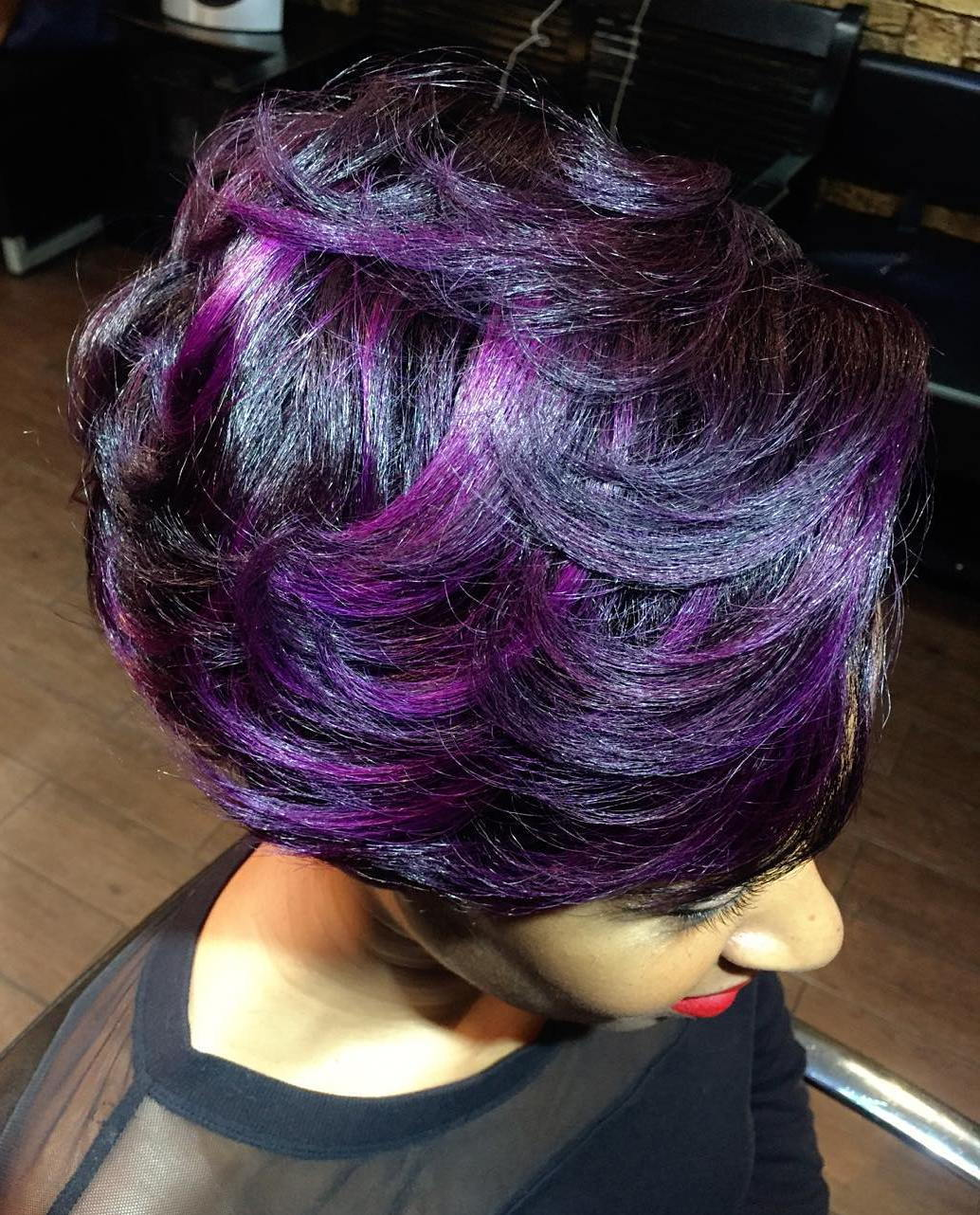 Juoda Hair With Purple Highlights