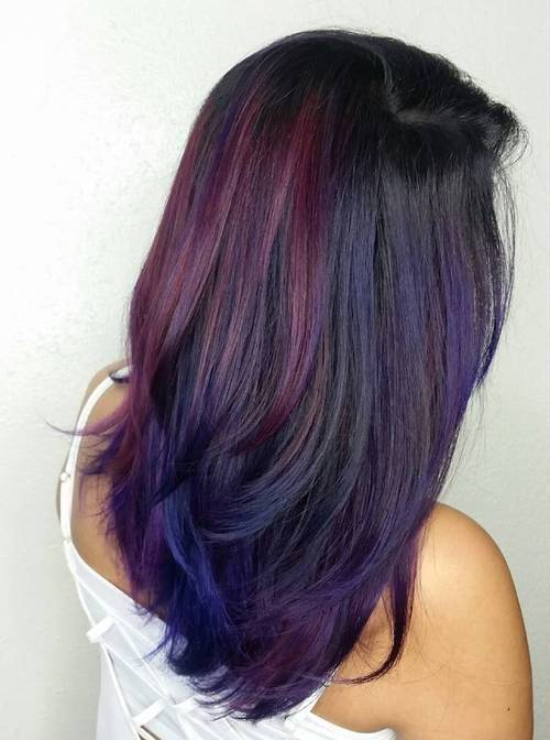 juoda hair with burgundy and blue balayage