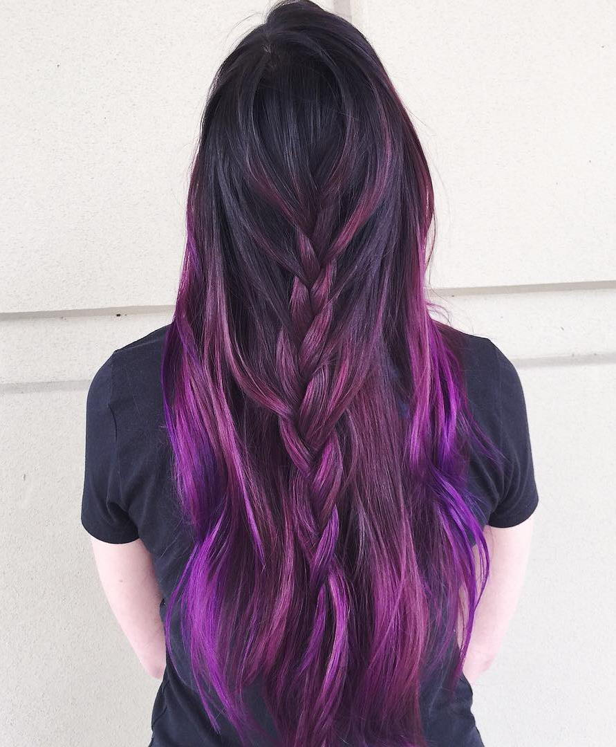 Juoda To Purple Ombre Hair