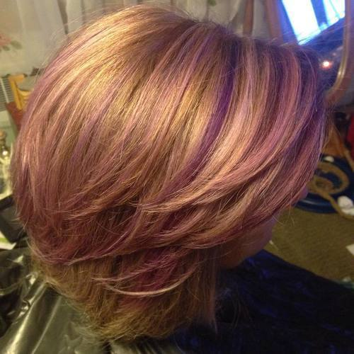 pastelė pink and purple highlights for golden blonde hair