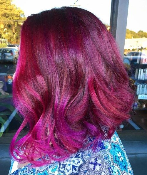 Tamsus Red and Purple Two Tone Hairstyle