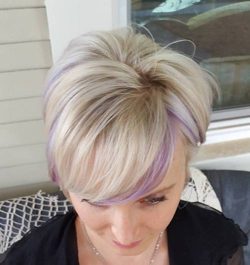 ilgai blonde pixie with light purple highlights