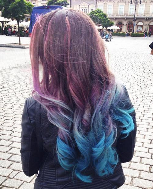 ruda to teal long ombre hair