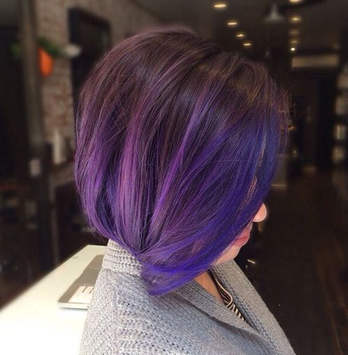 tamsi brown bob with blue and purple balayage
