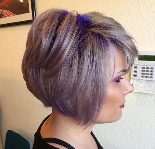 pelenai brown bob with purple balayage