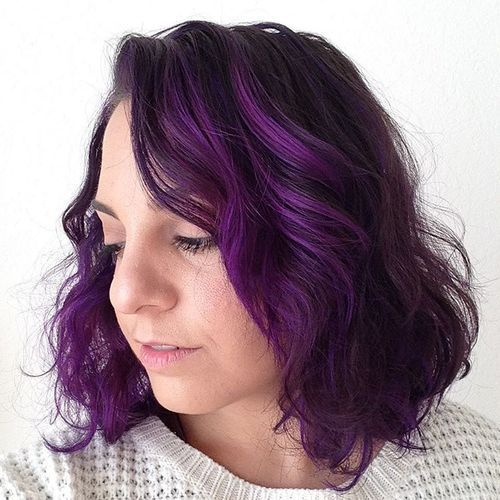 tamsi brown hair with bright purple highlights