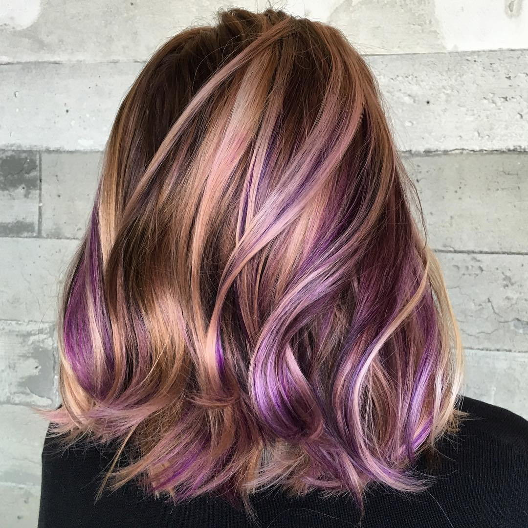 Ruda Hair With Caramel And Purple Highlights