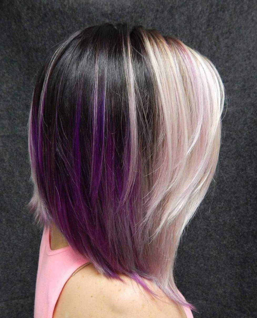 Šviesiaplaukis And Brown Hair With Purple Highlights