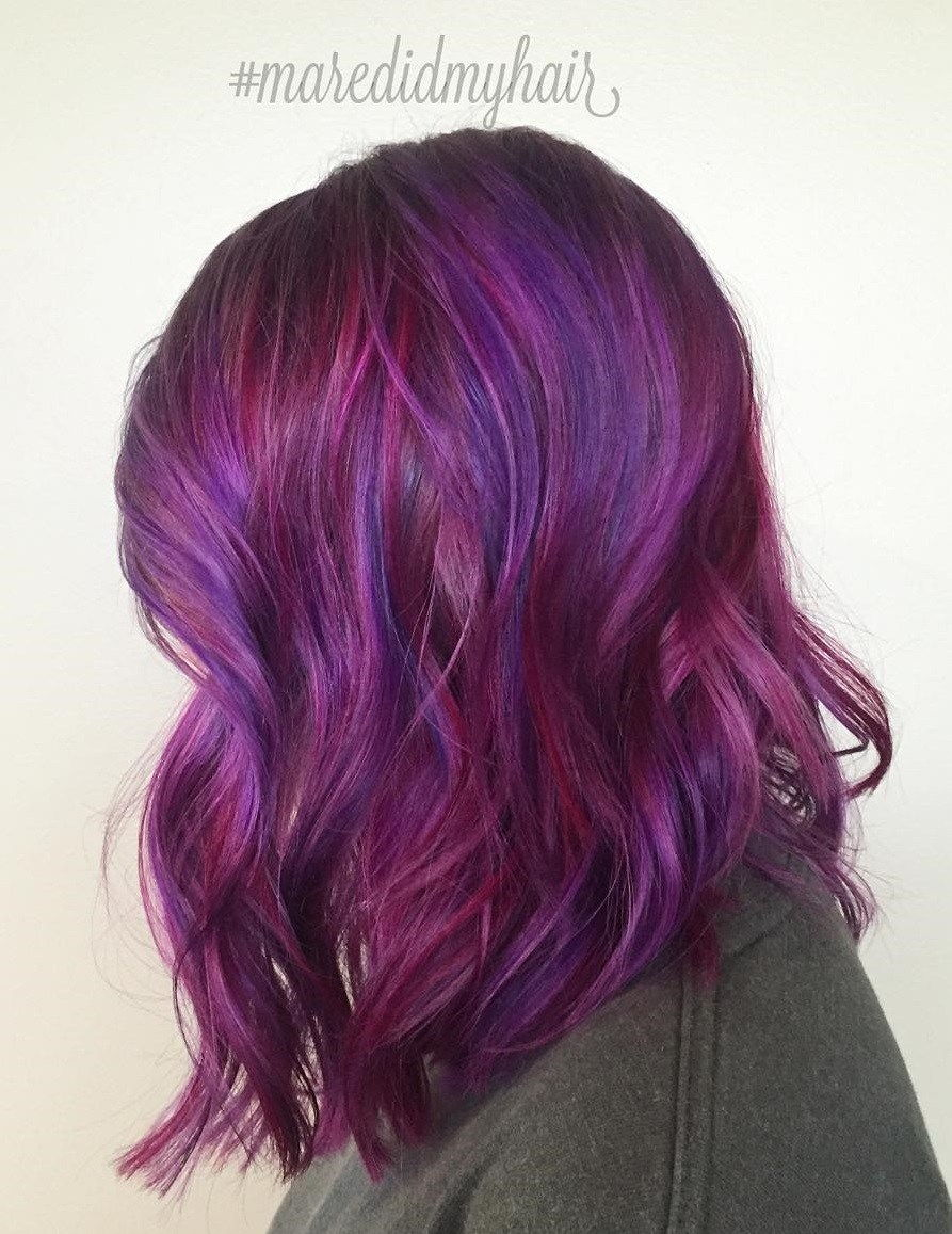 Burgundija And Purple Hair Color