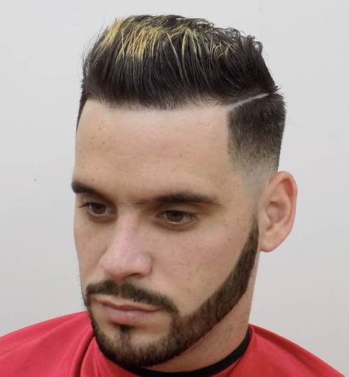 šepečiu up taper fade with a shaved side part