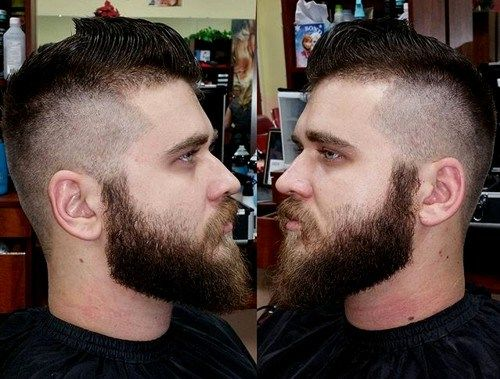 aukštas fade with full beard