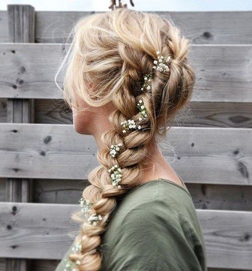 labav curly braid with rose buds for prom