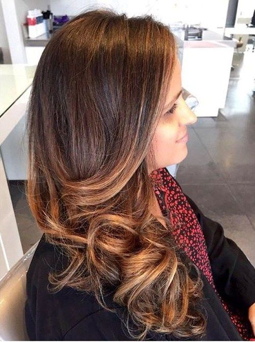 ruda hair with caramel ombre highlights