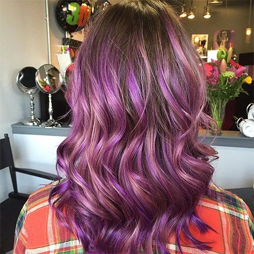 ruda hair with pastel purple ombre highlights