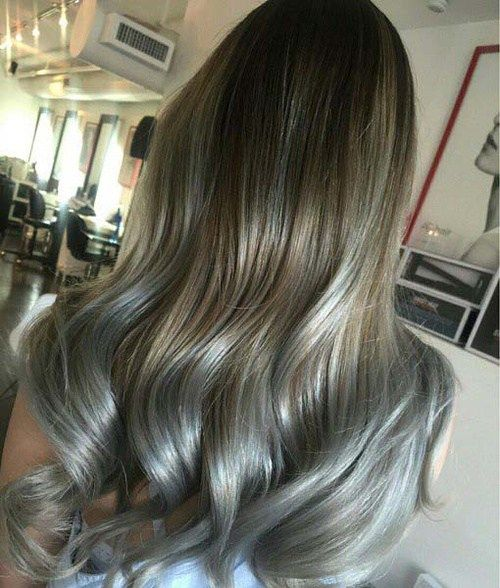 ruda hair with silver blonde highlights