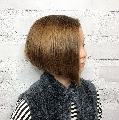 Side-Parted Angled Bob For Girls