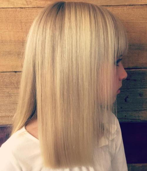 Medium-To-Long Blunt Haircut With Bangs