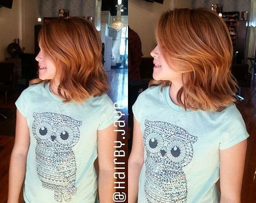 bølget lob hairstyle for girls