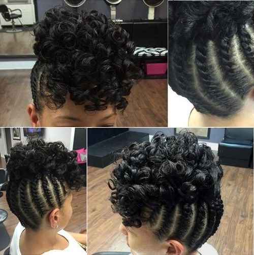 pleteni updo with a curly top for black hair